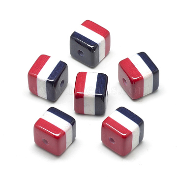 Opaque Printed Acrylic Beads, Pearlized, Cube with Arab Republic of Egypt Flag, Colorful, 16x16x16mm, Hole: 3mm(X-MACR-S274-73A)