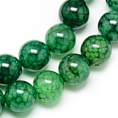 8mm Green Round Dragon Veins Agate Beads