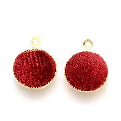 Подвесные велюровые подвески, с латунной фурнитурой , плоско-круглые, золотые, красные, 14x11x3 мм, отверстие : 1 мм(WOVE-R101-B05)
