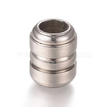 304 Stainless Steel Grooved Beads, Barrel, Stainless Steel Color, 12.7x10mm, Hole: 6mm(X-STAS-L238-012P)