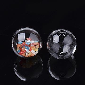 billes de globe en verre soufflé à la main, arrondir, effacer, 18~18.5x17.5~18 mm, trou: 1~2 mm(X-DH017J-1-18mm)