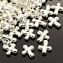 Alloy Beads, Cross, Lead Free and Cadmium Free, Silver Color Plated, 14x12.5x4mm