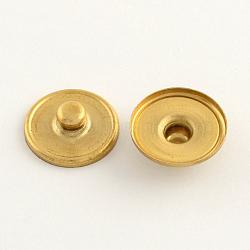 Латунь оснастки сеттинги кнопки кабошон, шпилька фурнитуры, плоско-круглые, золотые, 18.5x5~6 мм; Ручка: 5.5 мм; лоток: 18 мм(KK-Q686-G)