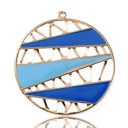 Émail de fer plaqué or clair grand pendentifs, plat rond, bleu, 60x56x1mm, Trou: 2mm(IFIN-J058-05KCG)