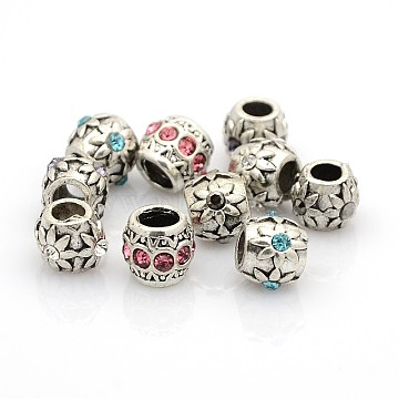 Mixed Styles Vintage Antique Silver Zinc Alloy Rhinestone European Beads, Large Hole Beads, Mixed Color, 8~11x8~9mm, Hole: 4.5mm(X-ALRI-O005-M)