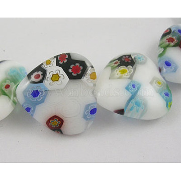 Handmade Millefiori Glass Beads Strands, Mother's Day Jewelry Making, White Porcelain, Heart, Colorful, about 18mm wide, 18mm, hole: 1mm; about 21pcs/strand, 15 inches(X-LK145-18MM)
