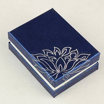 Rectangle Printed Cardboard Jewelry Necklace Boxes, Velours inside, Blue, 9x6.8x3.3cm(X-CBOX-E008-02)