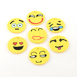 ручная улыбка лицо полимерной глины подвески, cmешанный цвет, 40x2~5 mm, отверстия: 2 mm(X-CLAY-R060-110)