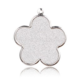 Platinum Plated Iron Flower Pendants, with Glitter, White, 46x42x1.5mm, Hole: 2mm(IFIN-J045-03P)