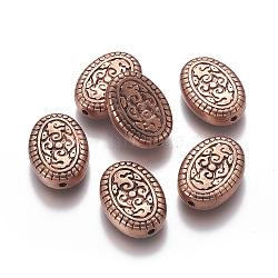 Perles sculptées en plastique CCB, ovale, cuivre rouge, 25x18x7mm, Trou: 2mm(CCB-J027-27R)