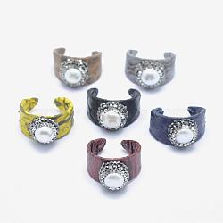 Bague de manchette en cuir de serpent, avec strass de perles d'eau douce naturelles et d'argile polymère, plat rond, couleur mixte, taille 8, 18mm(RJEW-P066-14)