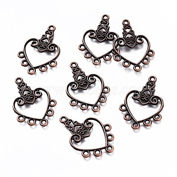 Tibetan Style Alloy Chandelier Components, Heart, Red Copper, 30x21x2mm, Hole: 2mm(PALLOY-F149-03R)