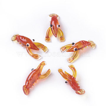 Home Decorations, Handmade Lampwork Display Decorations, Lobster, OrangeRed, 26~31x14~17x7~10mm(LAMP-L075-011)