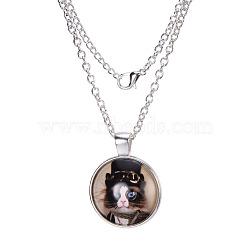 """Colliers avec pendentif plat rond avec motif de chat en verre, avec des chaînes d'alliage, argenterie, 18""""(X-NJEW-N0051-014C-02)"""