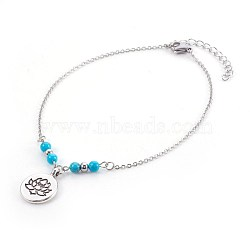 bracelets de cheville synthétiques turquoise, avec des pendentifs en alliage de style tibétain, 304 résultats en acier inoxydable et épingle à oeil en fer, plat rond de lotus, argent antique et platine, 9-7 / 8 (25.1 cm); pendentif: 20x15x1.5 mm(AJEW-AN00234-01)