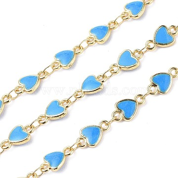 Handmade Alloy Enamel Heart Link Chains, with Spool, Soldered, Long-Lasting Plated, Lead Free & Cadmium Free, Golden, Deep Sky Blue, 10x6x1.6mm, about 16.4 Feet(5m)/roll(ENAM-F138-02F-02-RS)