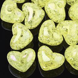 Perles en acrylique transparentes craquelées, demi-percés perles, cœur, jaune, 14.5x18x13mm, demi-trou: 3.5 mm(TACR-S148-04B)