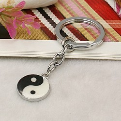Platinum Plated Alloy Enamel Great Ultimate Keychain, with Alloy Keychain Findings, White, 84mm(X-KEYC-JKC0001-05)