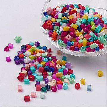 Cube Opaque Colours Glass Seed Beads, Round Hole, Mixed Color, 3~7x3~4x3~4mm, Hole: 0.5mm, about 4500pcs/bag, 440~450g/bag(SEED-R026-A19)