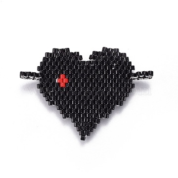 41mm Black Heart Glass Links