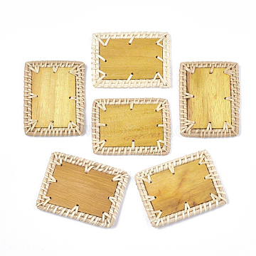 Handmade Reed Cane/Rattan Woven Beads, with Wood, For Making Straw Earrings and Necklaces, No Hole/Undrilled, Rectangle, Goldenrod, 64~66x45~50x4~5mm(X-WOVE-T006-095)