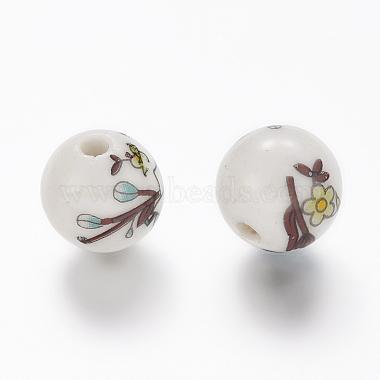 Perles de porcelaine imprimées manuelles(PORC-Q199-12mm-17)-2