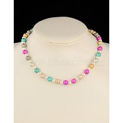 """Colliers extensibles de perles acryliques pour enfants, avec peint à la bombe perles acryliques, blanc, 16.5""""(NJEW-JN00428-01)"""