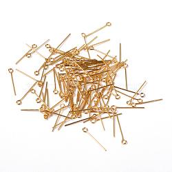 Clou tête boule en laiton plaqué d'or pour fabrication de bijoux, 20x0.7mm, Trou: 2mm(X-EPC2.0cm-G)
