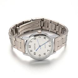Women's Stainless Steel Wristwatch Quartz Watches, with Alloy Watch Head, White, 59x14~16mm; Watch Head: 37x33x9mm(WACH-F018-36A-01)