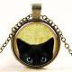 Cat Pattern Flat Round Glass Pendant Necklaces(NJEW-N0051-014B-01)-1