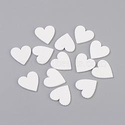 Cabochons en bois peint par pulvérisation, cœur, blanc, 19.5~20x19.5~20x1.5mm(WOOD-L007-28)