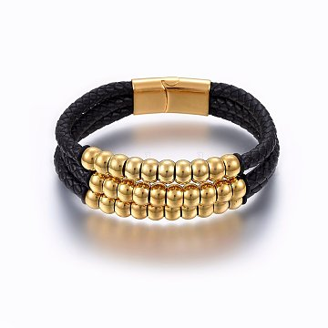 Leather Cord Multi-strand Bracelets, with 304 Stainless Steel Magnetic Clasp, Rectangle, Black, Golden, 8-5/8 inches(22cm); 15~23x5~8mm(BJEW-E345-23G)