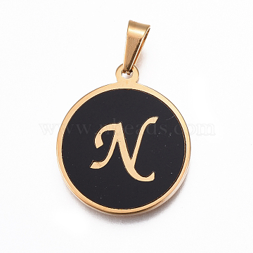 Golden Black Flat Round Stainless Steel+Other Material Pendants