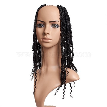Bomb Twist Crochet Hair, Spring Twist Hair Prelooped Crochet Braids, Low Temperature Heat Resistant Fiber, Synthetic Twisted Hair Dreadlocks, Long & Curly Hair, Black, 14 inches(35.5cm), 24strands/pc(OHAR-G005-03A)