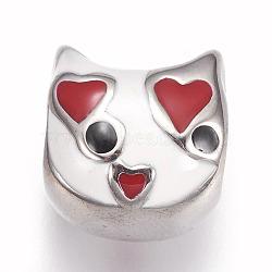 Perles en 304 acier inoxydable, avec l'émail, Perles avec un grand trou   , chat, couleur inoxydable, blanc, 12x12x11mm, Trou: 5.5mm(STAS-F195-049P-04B)
