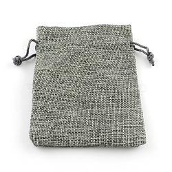 Pochettes en toile de jute, grises , 18x13 cm(X-ABAG-R005-18x13-04)