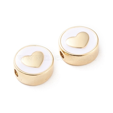 Brass Enamel Beads, Long-Lasting Plated, Flat Round with Heart, White, Real 18K Gold Plated, 11x5mm, Hole: 1.8mm(X-KK-F814-06G)