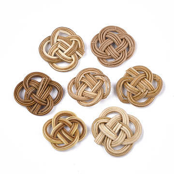 Handmade Reed Cane/Rattan Woven Pendants, For Making Straw Earrings and Necklaces, BurlyWood, 22~26x22~26x3~4mm(X-WOVE-T006-129B)