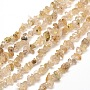 """Natural Gold Rutilated Quartz Chip Bead Strands, 5~8x5~8mm, Hole: 1mm; about 31.5"""""""
