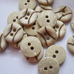 Round Carved 2-hole Basic Sewing Button, Coconut Button, Khaki, 13mm in diameter(NNA0YXP)