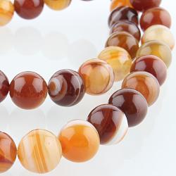 """Chapelets de perles rondes en pierre d'agate naturelle, teint, chocolat, 8mm, trou: 1mm; environ 49 pcs/chapelet, 14.96""""(G-E233-06)"""