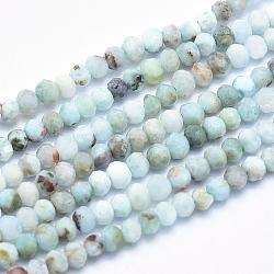 """Chapelets de perles en larimar naturel, grade AB, facette, rondelle, 3x2.5mm, trou: 0.5mm; environ 153 pcs/chapelet, 15.5""""(G-K256-57A)"""