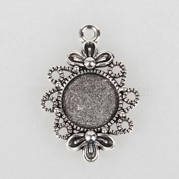 Tibetan Style Filigree Alloy Pendant Cabochon Settings, Cadmium Free & Lead Free, Antique Silver, Flat Round Tray: 12mm; 30x21x3mm, Hole: 2mm(X-TIBEP-N003-58AS)