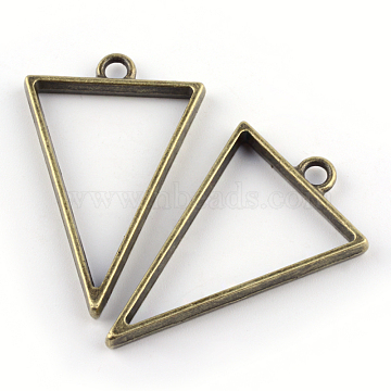 Rack Plating Alloy Triangle Open Back Bezel Pendants, For DIY UV Resin, Epoxy Resin, Pressed Flower Jewelry, Cadmium Free & Nickel Free & Lead Free, Antique Bronze, 39x25x3.5mm, Hole: 3mm(X-PALLOY-S047-09F-FF)