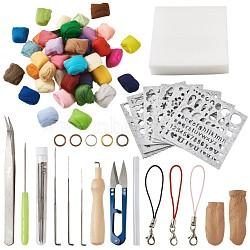 Laine feutre pour bricolage enfants poupée artisanat, moule en feutre de laine, outils de fabrication de feutrage, 304 pince à perler en acier inoxydable et feutre de laine 70s pour artisanat de poupée dty enfants, couleur mixte, 17.5x10x2.2cm; mousse: 14.9x14.6x3.5cm(DIY-TA0002-38)