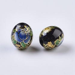 Perles rondes en verre transparent avec motif de fleur, ovale avec des fleurs, teint, noir, 13x10.5mm, Trou: 2mm(RESI-J020-C05)