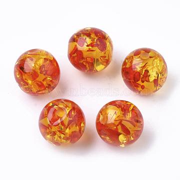 Resin Beads, Imitation Amber, Round, OrangeRed, 10mm, Hole: 2mm(X-RESI-T025-10mm-05)