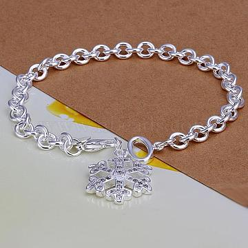 Trendy Brass Cable Chains Bracelets, Christmas, with Snowflake Pendant and Lobster Clasps, Silver Color Plated, 203.2mm(BJEW-BB12568)