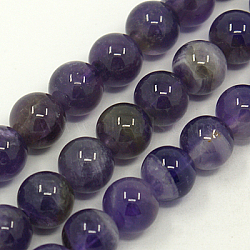 Gemstone Beads Strands, Natural Grade AB Amethyst, Round, Purple, Size: about 8mm in diameter, hole: 1mm, 50pcs/strands.