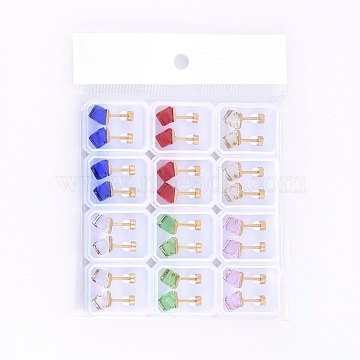 304 Stainless Steel Ear Fake Plugs, Ear Studs, with Glass Rhinestones, Cube, Mixed Color, 6x6x6mm; Pin: 1mm; 12pairs/bag(EJEW-H362-01G)